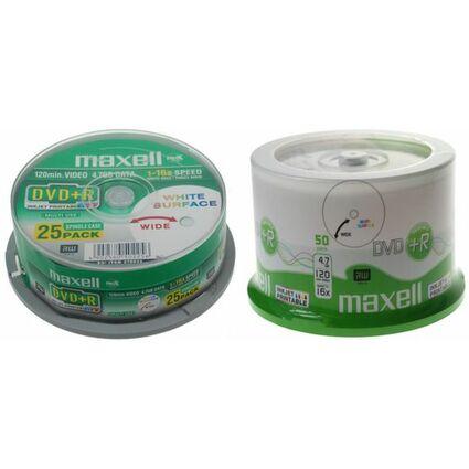 maxell DVD+R, 120 Minuten, 4.7 GB, 16x, bedruckbar, 50er