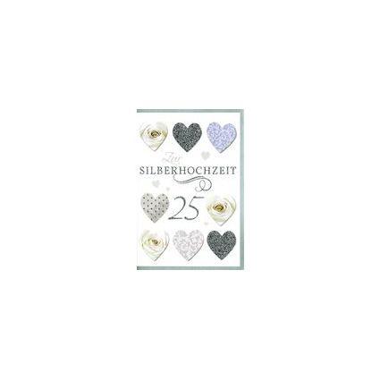 HORN Hochzeitskarte - Silberhochzeit - Herzen & Rosen -