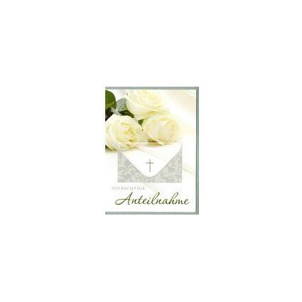 HORN Trauerkarte - Weiße Rosen - inkl. Umschlag -