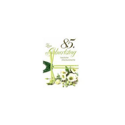 HORN Geburtstagskarte - Weiße Eustoma - 85. Geburtstag