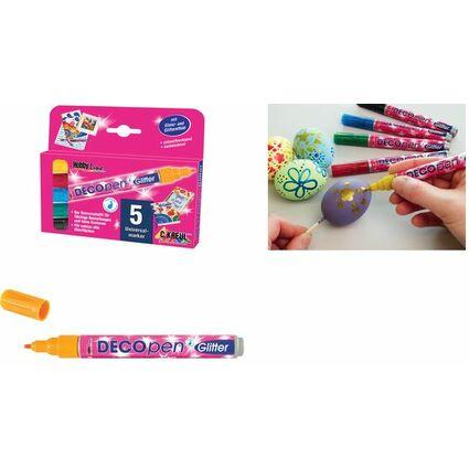 """KREUL Acrylmarker Hobby Line """"Deco Pen Glitter"""", 5er-Set"""