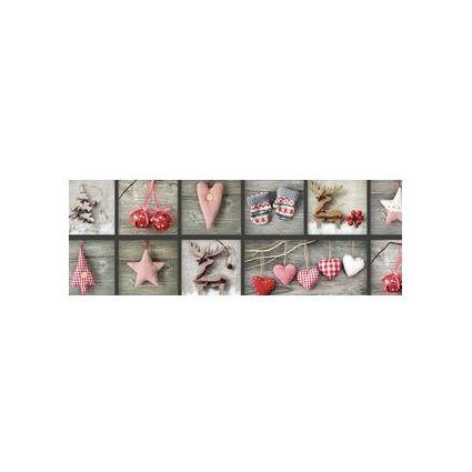 """URSUS Weihnachts-Fotokarton """"Landhaus"""", weiß/rot"""