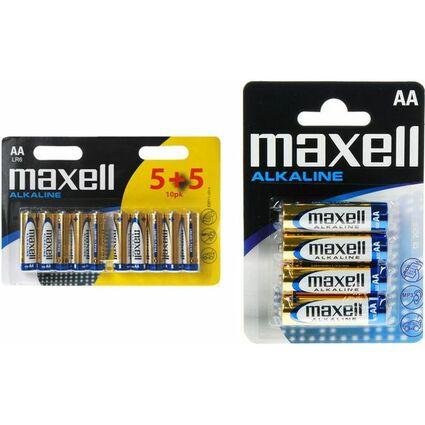 """maxell Alkaline Batterie """"5+5"""", Mignon AA, 10er Blister"""