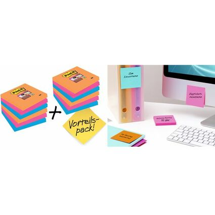 Post-it Haftnotizen Super Sticky Notes, 76 x 76 mm, Bangkok