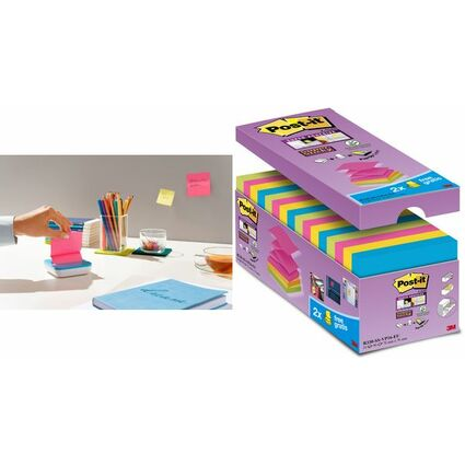 Post-it Haftnotizen Super Sticky Z-Notes, 76 x 76 mm, farbig
