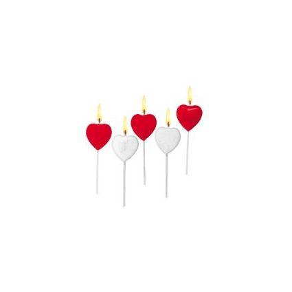 """SUSY CARD Kuchenkerzen """"Herz"""", aus Wachs, auf Holzstäbchen"""