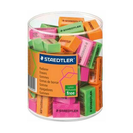 STAEDTLER Kunststoff-Radierer Neonfarben, 60er Köcher