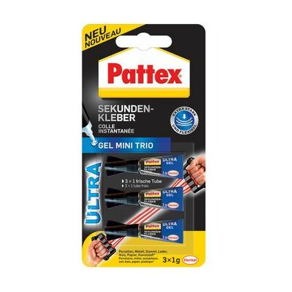 Pattex Sekundenkleber Ultra Gel Mini Trio, 3 Tuben à 1 g