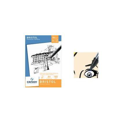 CANSON Zeichenpapier-Block BRISTOL, DIN A4, 180 g/qm, weiß