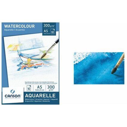 CANSON Aquarellpapier-Block, DIN A5, 300 g/qm, weiß
