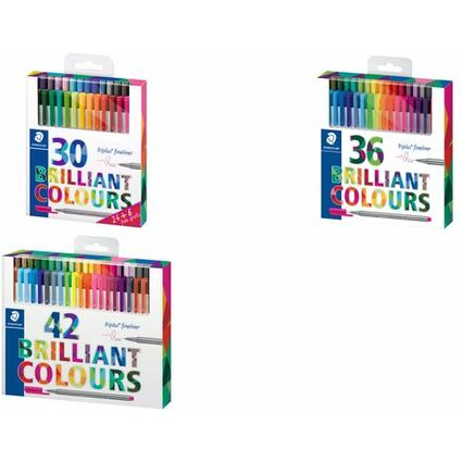 STAEDTLER Fineliner triplus BRILLIANT COLOURS, 42er Etui
