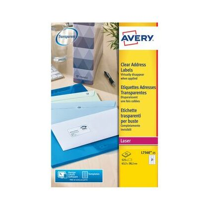AVERY Étiquettes Adresses, 63,5 x 38,1 mm, transparent