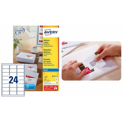 AVERY Étiquettes Adresse Jet d'encre, 99,1 x 38,1 mm, blanc