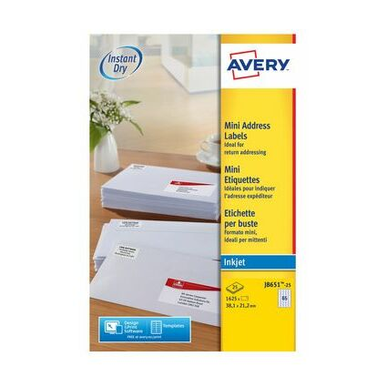 AVERY Mini étiquettes jet d'encre, 38,1 x 21,2 mm, blanc