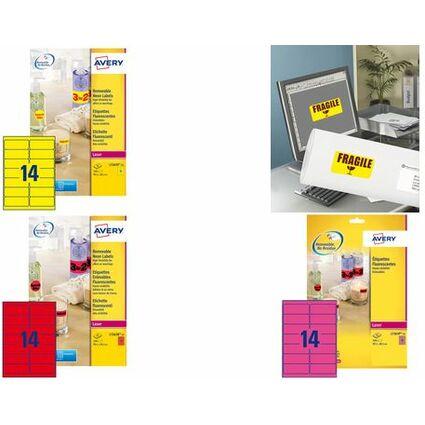 AVERY Étiquettes fluorescentes, 99,1 x 38,1 mm, rouge fluo