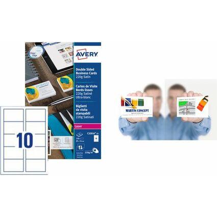 AVERY Cartes de visite Quick&Clean, 220 g/m2, satin blanc
