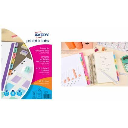 AVERY Onglets adhésifs personnalisables, A4, couleur assorti