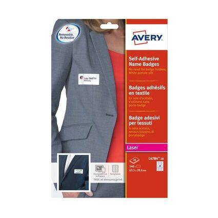 AVERY Badges adhésifs, 80 x 50 mm, blanc / liseré rouge