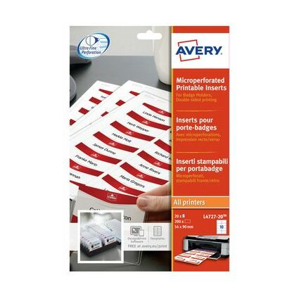 AVERY Inserts pour badges en planches A4, 55 x 86 mm, blanc