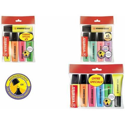 STABILO Textmarker BOSS ORIGINAL, 5 + 1 Ecopack