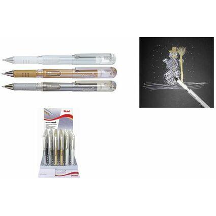 Pentel Gel-Tintenroller K230, gold, silber, weiß, Display
