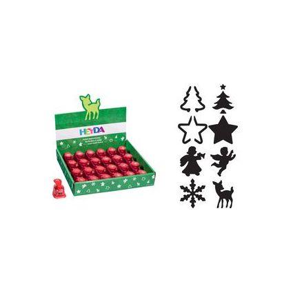 HEYDA Weihnachtsmotiv-Locher, klein, 24er Display, sortiert
