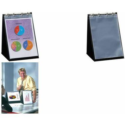 rillstab Tisch-Flipchart, A4 quer, schwarz, inkl. 10 Hüllen