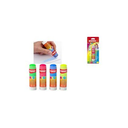 Kores Klebestift NEON, 20 g, neonfarben, auf Blisterkarte