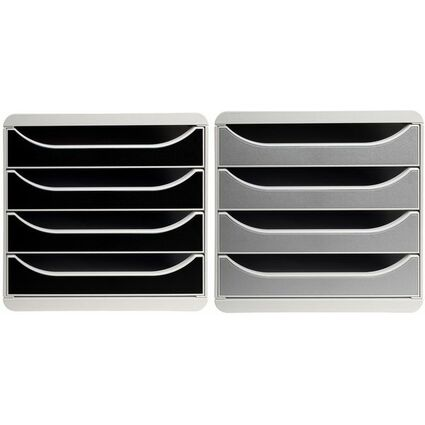 EXACOMPTA Schubladenbox BIG-BOX, 4 Schübe, schwarz glossy