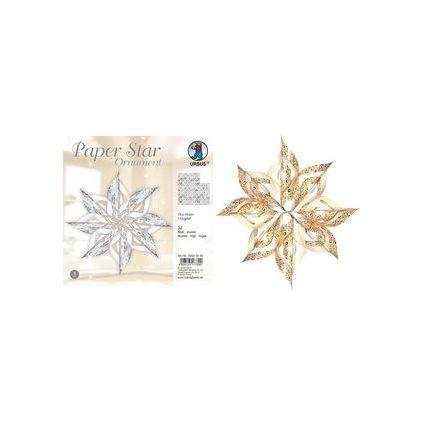 """URSUS Designsterne Paper Stars """"Ornament"""", gold"""