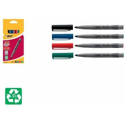 BIC Permanent-Marker Pocket ECOlutions 1445, 4er Etui