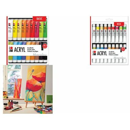 Marabu Acrylfarben-Set, 18 x 36 ml, farbig sortiert