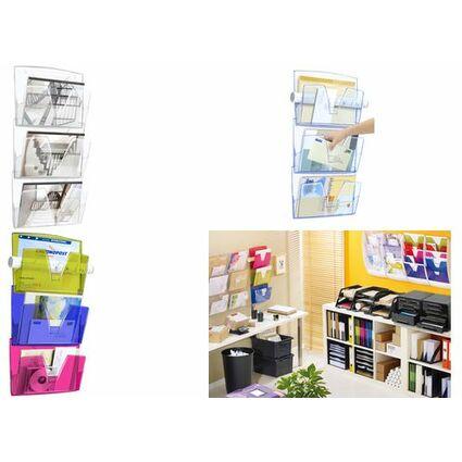 CEP Wandprospekthalter Happy 3er Set, DIN A4, 1 Fach, bunt