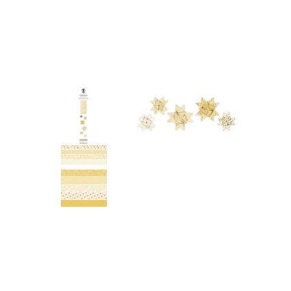URSUS Faltpapierstreifen für Fröbelsterne, goldgelb/weiß