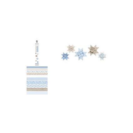 URSUS Faltpapierstreifen für Fröbelsterne, eisblau/braun
