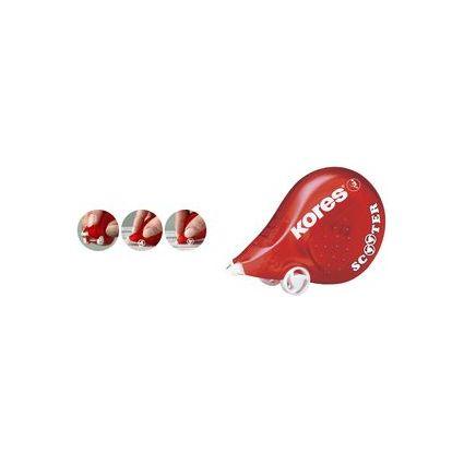 """Kores Einweg-Korrekturroller """"SCOOTER"""", 4,2 mm x 8 m, rot"""