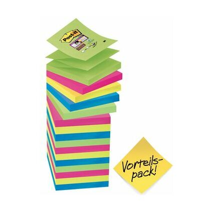 Post-it Haftnotizen Z-Notes Super Sticky, Vorteilspack
