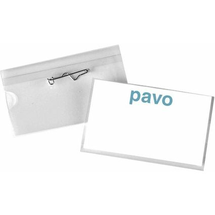 pavo Namensschild, mit Wellennadel, 54 x 90 mm, transparent