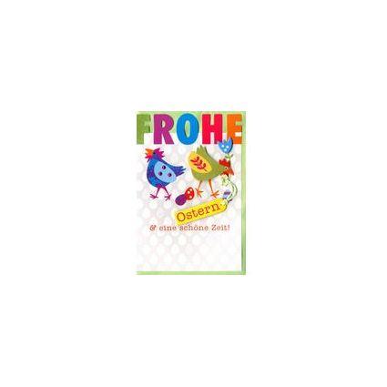 HORN Oster-Grußkarte - Bunte Hühner, inkl. Umschlag