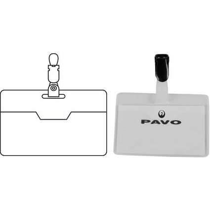 pavo Namensschild, mit Clip, 60 x 90 mm, transparent