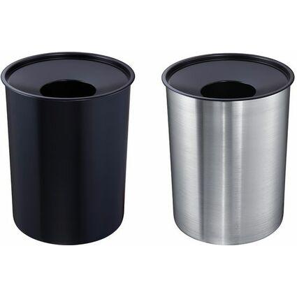ZWINGO Sicherheits-Papierkorb, aus Stahl, 13 l, silber