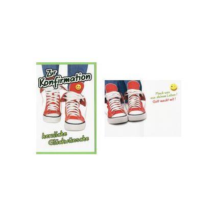 HORN Konfirmationskarte - Rote Sneakers - inkl. Umschlag