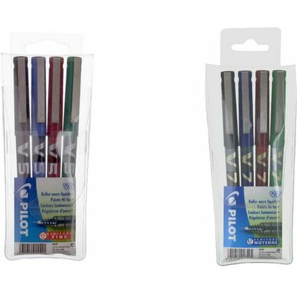 PILOT Tintenroller Hi-Tecpoint V7, 4er Etui, farbig sortiert