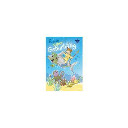 HORN Kinder-Geburtstagskarte - Taucher und Hai -