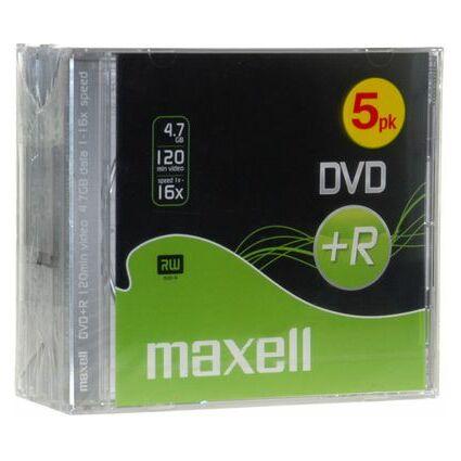 maxell DVD+R, 120 Minuten, 4.7 GB Data, 16x, 5er Jewel Case