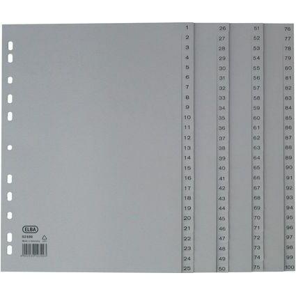 ELBA Kunststoff-Register, 1-100, DIN A4, grau, 100-teilig