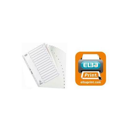 ELBA Kunststoff-Register STRONG LINE, Zahlen, DIN A4, weiß