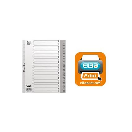 ELBA Kunststoff-Register, Zahlen, DIN A4, grau, 54-teilig