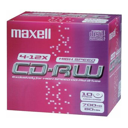 maxell CD-RW, 80 Minuten, 700 MB, 4-12x, Jewel Case