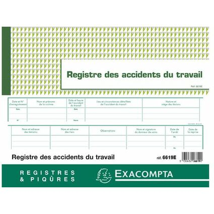 EXACOMPTA Registre des accidents du travail bénins
